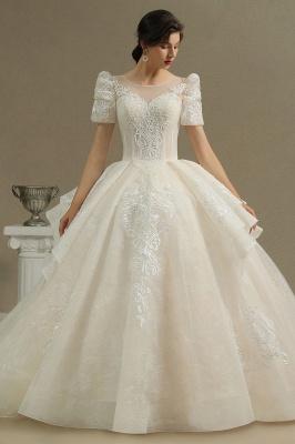 Elegantes Kurzarm Princess Ballkleid ALine Lace Appliques Brautkleid_2