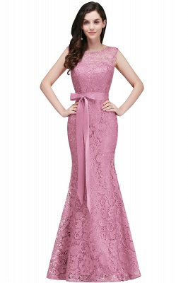 Floor-Length Sleeveless Burgundy Bowknot-Sash Mermaid Lace Prom Dresses_1