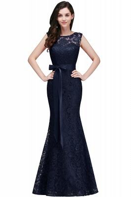 Floor-Length Sleeveless Burgundy Bowknot-Sash Mermaid Lace Prom Dresses_4
