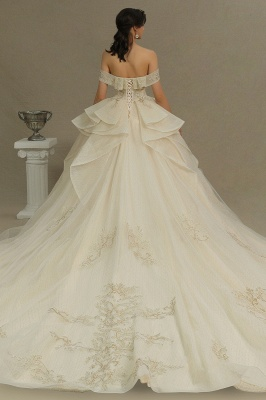 Wunderschönes schulterfreies Blumengartenballkleid aus Tüllspitze mit Brautkleid für die Braut_6