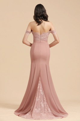 Off the Sholder Lace Appliques Mermaid Bridesmaid Dress Wedding Party Dress_3