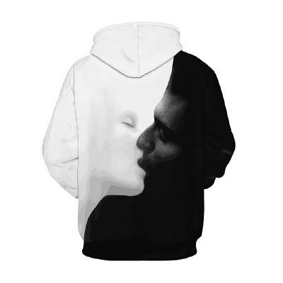 Sudadera con capucha estampada con capucha blanca negra para hombre_2