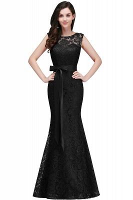 Floor-Length Sleeveless Burgundy Bowknot-Sash Mermaid Lace Prom Dresses_5