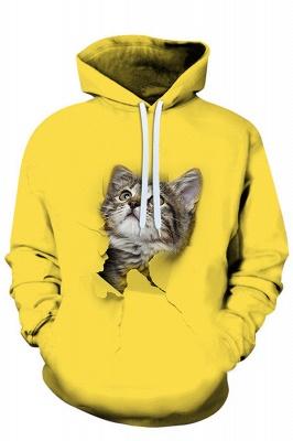 Men's Digital Printed Sweatshirts Hooded Top Cute Cat Pattern Hoodie_3