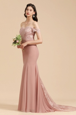 Off the Sholder Lace Appliques Mermaid Bridesmaid Dress Wedding Party Dress_7