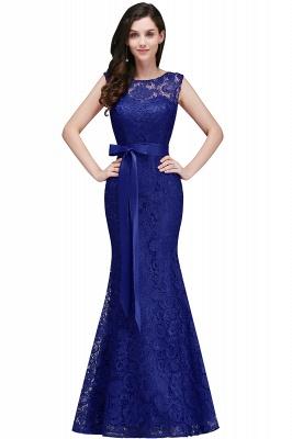 Floor-Length Sleeveless Burgundy Bowknot-Sash Mermaid Lace Prom Dresses_3