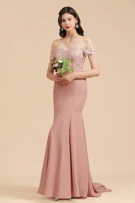 Off the Sholder Lace Appliques Mermaid Bridesmaid Dress Wedding Party Dress_5