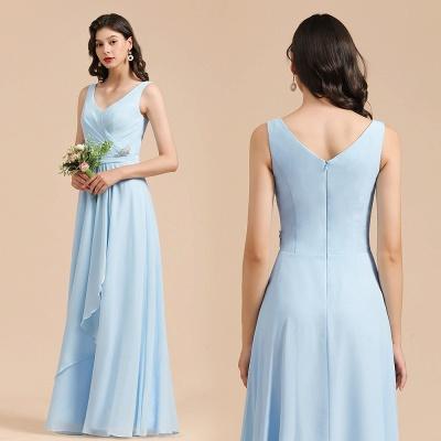 Sleeveless V-Neck Ruffle Chiffon ALine Bridesmaid Dress Simple Wedding Dress_10