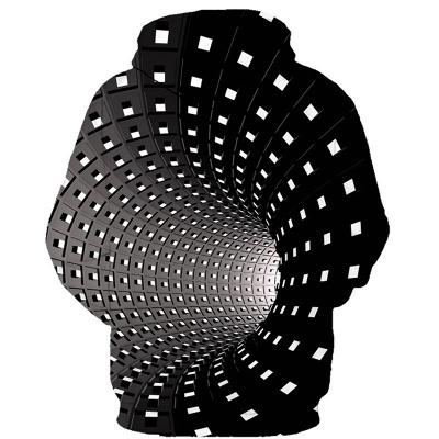 Unisex  3D Printing Gradient Giddiness Design Hoddies Round Neck Top Sweatershirt_2