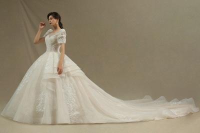 Elegantes Kurzarm Princess Ballkleid ALine Lace Appliques Brautkleid_3