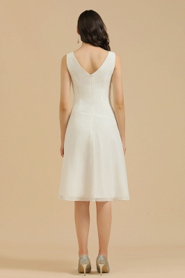 Robe de soirée blanche sans manches en mousseline de soie au genou_3