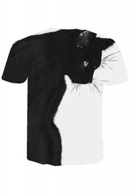 3D-gedruckte T-Shirts Unisex-gedruckte Schwarzweiss-Katzengrafik-T-Shirt Sommer lässige Kurzarmhemden-Oberteile tragen für Männer Frauen_6