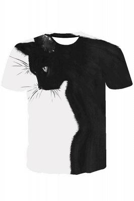3D-gedruckte T-Shirts Unisex-gedruckte Schwarzweiss-Katzengrafik-T-Shirt Sommer lässige Kurzarmhemden-Oberteile tragen für Männer Frauen_2