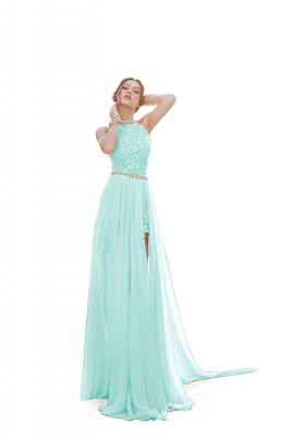 ADELE | A-line Halter Chiffon Evening Dress with Lace_5