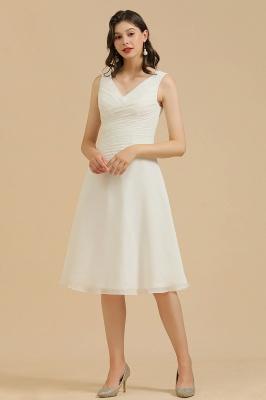 Robe de soirée blanche sans manches en mousseline de soie au genou_1