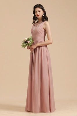 Elegant Sleeveless Ruffle Chiffon Aline Bridesmaid Dress Simple Wedding Dress Floor length_7