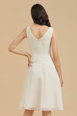 Robe de soirée blanche sans manches en mousseline de soie au genou_9