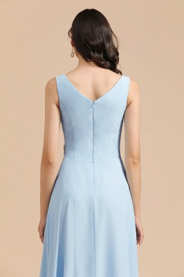 Sleeveless V-Neck Ruffle Chiffon ALine Bridesmaid Dress Simple Wedding Dress_9