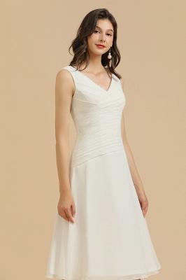 Robe de soirée blanche sans manches en mousseline de soie au genou_6