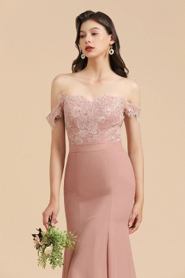 Off the Sholder Lace Appliques Mermaid Bridesmaid Dress Wedding Party Dress_9