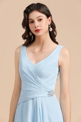 Sleeveless V-Neck Ruffle Chiffon ALine Bridesmaid Dress Simple Wedding Dress_8