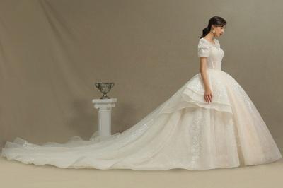 Elegantes Kurzarm Princess Ballkleid ALine Lace Appliques Brautkleid_4