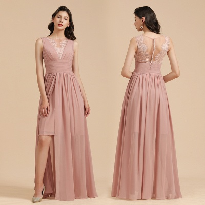 Elegant Sleeveless Ruffle Chiffon Aline Bridesmaid Dress Simple Wedding Dress Floor length_11