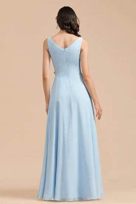 Sleeveless V-Neck Ruffle Chiffon ALine Bridesmaid Dress Simple Wedding Dress_3