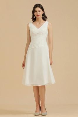 Robe de soirée blanche sans manches en mousseline de soie au genou_2