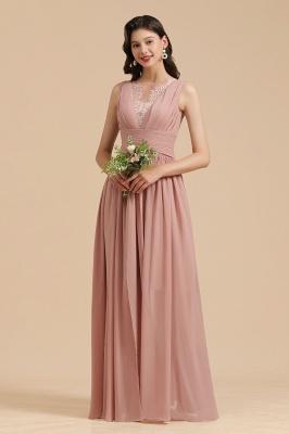 Elegant Sleeveless Ruffle Chiffon Aline Bridesmaid Dress Simple Wedding Dress Floor length_1