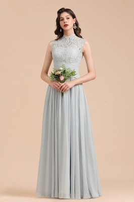 Halter Aline Floor Length Bridesmaid Dress Sleeveless Evening Party Dress_1