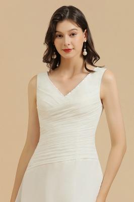 Robe de soirée blanche sans manches en mousseline de soie au genou_7