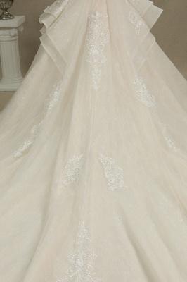 Elegantes Kurzarm Princess Ballkleid ALine Lace Appliques Brautkleid_8