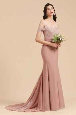 Off the Sholder Lace Appliques Mermaid Bridesmaid Dress Wedding Party Dress_4