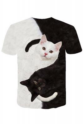 3D-gedruckte T-Shirts Unisex-gedruckte Schwarzweiss-Katzengrafik-T-Shirt Sommer lässige Kurzarmhemden-Oberteile tragen für Männer Frauen_4