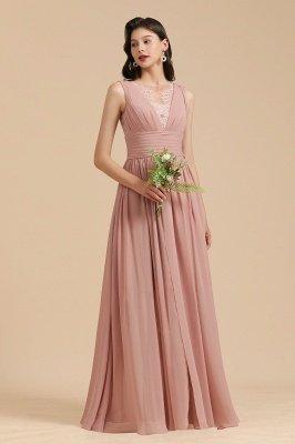 Elegantes ärmelloses Rüschen-Chiffon-Aline-Brautjungfernkleid Einfaches Hochzeitskleid Bodenlänge_4