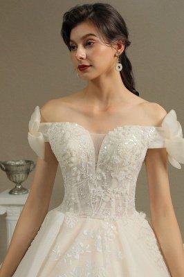 Off Sohulder Aline White Princess Bridal Gown Floor  Length Lace Wedding Dress_7