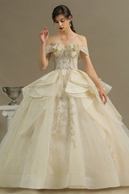 Gorgeous Off-the-Shoulder Floral Garden Ball Gown Tulle Lace Wedding Dress for Bride