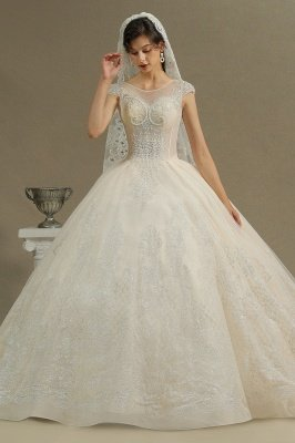 Stylish Cap Sleeves  Aline Wedding Dress Tulle Lace Appliques Bridal Gown_5