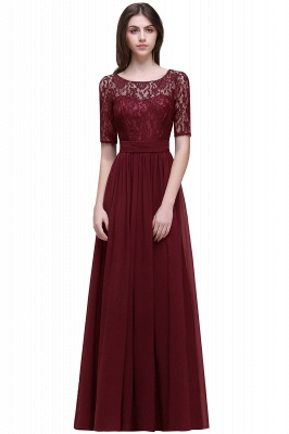 AUBRIELLE | A-line Scoop Chiffon Elegant Prom Dress With Lace_4