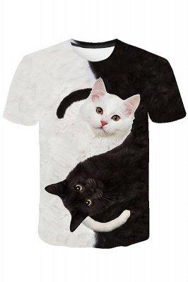 3D-gedruckte T-Shirts Unisex-gedruckte Schwarzweiss-Katzengrafik-T-Shirt Sommer lässige Kurzarmhemden-Oberteile tragen für Männer Frauen