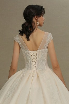 Stylish Cap Sleeves  Aline Wedding Dress Tulle Lace Appliques Bridal Gown_8