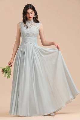 Halter Aline Floor Length Bridesmaid Dress Sleeveless Evening Party Dress_4