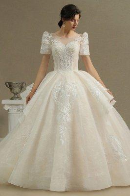 Elegant Short Sleeve Princess Ball Gown ALine Lace Appliques Wedding Dress_2