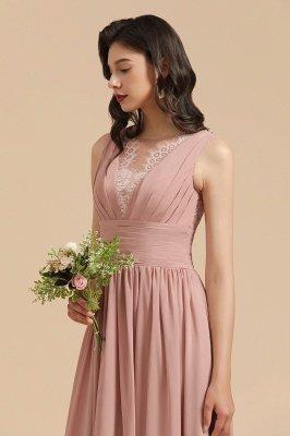 Elegantes ärmelloses Rüschen-Chiffon-Aline-Brautjungfernkleid Einfaches Hochzeitskleid Bodenlänge_9