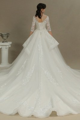 3/4 Sleeve White/Ivory Aline Wedding Dress Floral Lace Garden Bridal Gown_5