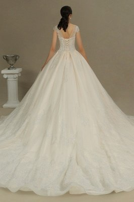 Stylish Cap Sleeves  Aline Wedding Dress Tulle Lace Appliques Bridal Gown_7