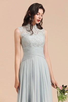 Halter Aline Floor Length Bridesmaid Dress Sleeveless Evening Party Dress_8