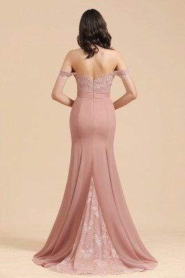 Aus der Schulter Spitze Applikationen Meerjungfrau Brautjungfer Kleid Hochzeitsparty Kleid_3