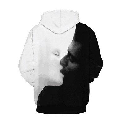 Black White Hoodies Print Hooded Sweatshirt for Men_2